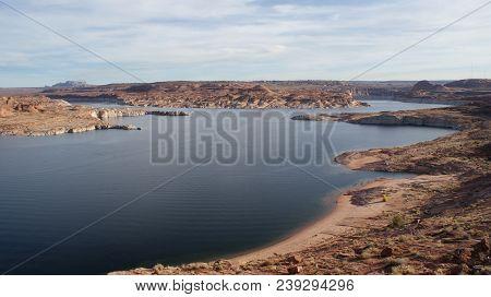 Beautiful Lake And Landscape Overlook In Page, Arizona. Photo Taken November 23, 2017.
