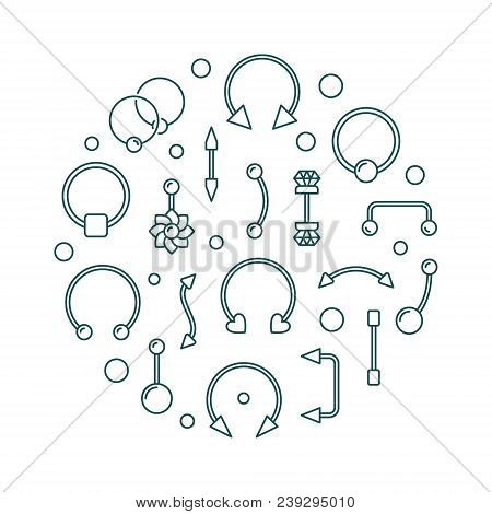 Body Piercing Circular Vector Illustration Made Of Body Jewelry Linear Icons