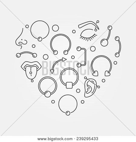 Heart Shape Made Of Body Jewelry And Piercing Concept Thin Line Icons