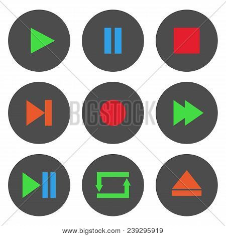 Colorful Media Player Control Buttons Set. Play, Pause, Stop, Record, Forward, Rewind, Previous, Nex
