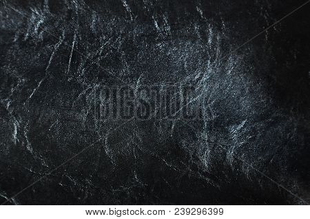 Black Color Leather With Abstract Line And Shade On Background