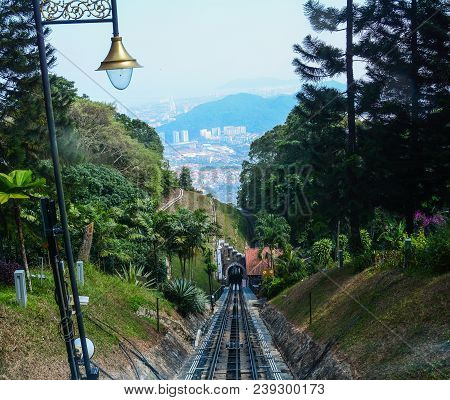 Railway Track On The Hill In Penang, Malaysia. The Railway Track Is A Furnicular Train That Goes Fro
