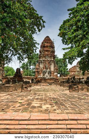 Old Historic Temple Complex Wat Mahathat In Ayutthaya, Thailand
