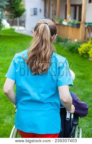 Caregiver Spending Time Outdoor With Handicapped Senior Woman, Home Care - Back View