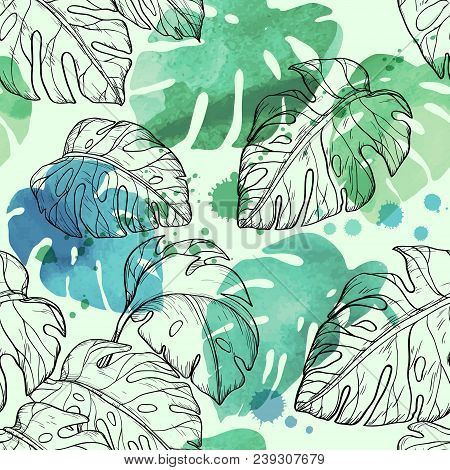 Abstract Watercolor Seamless Leaves Pattern With Tropical Leaves, Vector Illustration