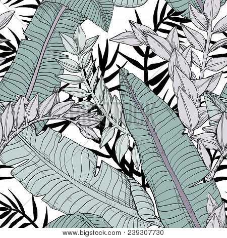 Floral Seamless Leaves Pattern With Tropical Plants, Vector Illustration