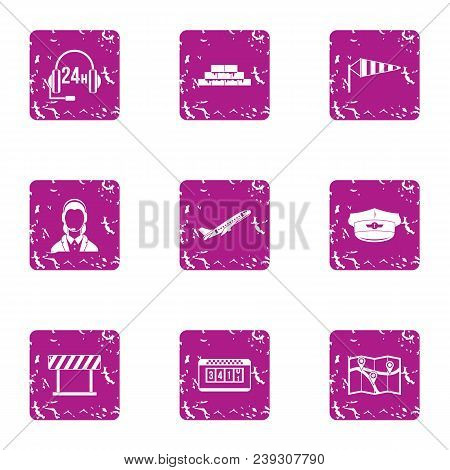 Specialist Support Icons Set. Grunge Set Of 9 Specialist Support Vector Icons For Web Isolated On Wh