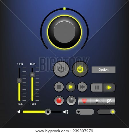 Music Player Interface Or Audio Player Interface With Control Navigation Panel. Modern Design. Vecto