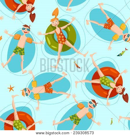 Boy wearing inflatable armbands and girl with a float rubber safety ring swimming in the sea. Summer. Seamless background pattern. Vector illustration poster