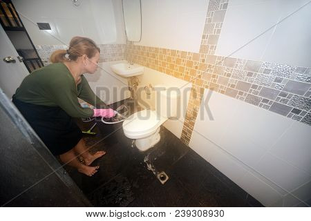 Asian Female Maid Or Housekeeper Cleaning Water Closet In Toilet.