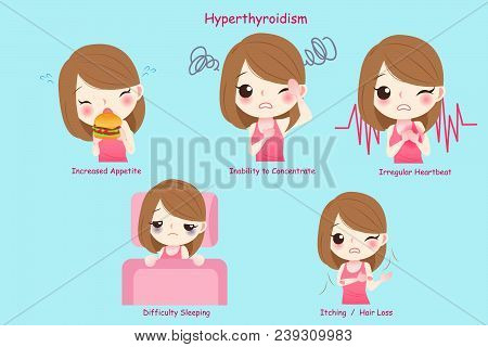 Woman With Hyperthyroidism On The Blue Background