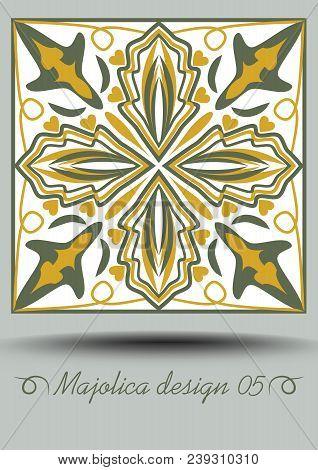 Faience Ceramic Tile In Nostalgic Ocher And Olive Green Design With White Glaze. Classic Ceramic Maj