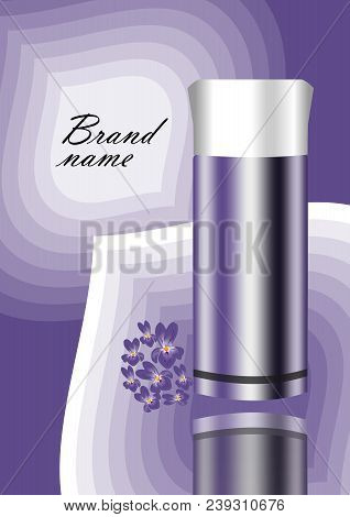 Cosmetics Advertisement Flyer In Violet Design With Abstract Background, Mirroring Bottle And Violet