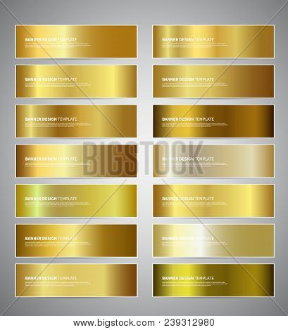 Set Of Gold Gradient Vector Banners Templates Or Website Headers. Vector Design For Your Banners, He