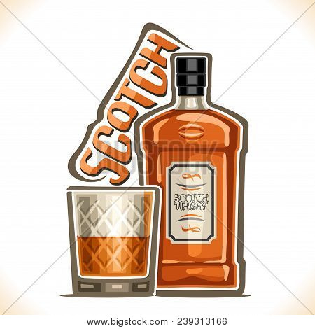 Vector Illustration Of Alcohol Drink Scotch Whisky, Brown Bottle Of Luxury Old Whiskey, Half Full Tu