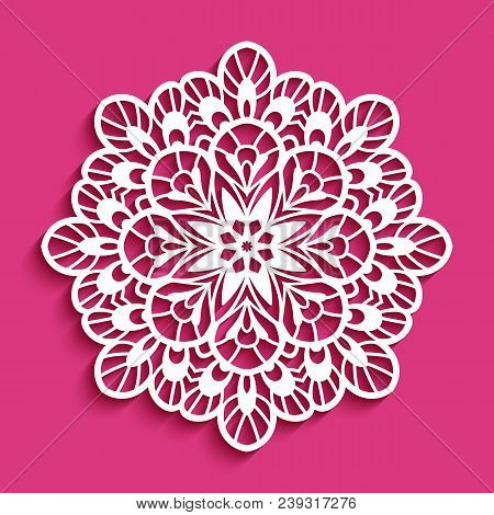 Round Lace Doily, Decorative Snowflake, Cutout Paper Pattern, Mandala Circle Ornament, Template For