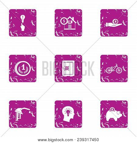 Mental Money Icons Set. Grunge Set Of 9 Mental Money Vector Icons For Web Isolated On White Backgrou