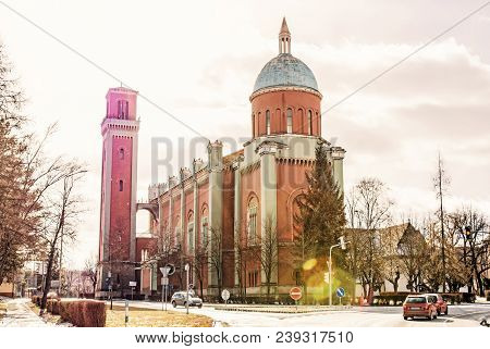 New Evangelical Church In Backlight, Kezmarok, Slovak Republic. Religious Architecture. Travel Desti