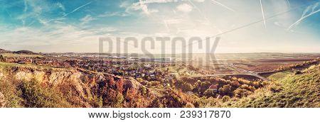 Drazovce Village And Industrial Park Nitrain Sunset, Slovak Republic. Autumn Panoramic Scene. Landsc