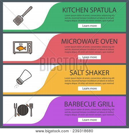 Barbecue Web Banner Templates Set. Website Color Menu Items. Bbq. Kitchen Spatula, Microwave Oven Co
