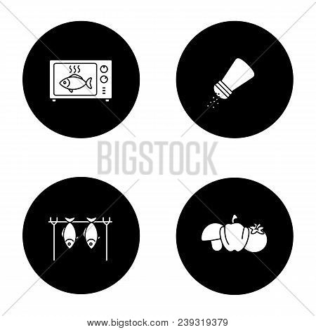 Barbecue Glyph Icons Set. Bbq. Grilled Fish In Microwave, Salt Or Pepper Shaker, Vegetables, Stockfi