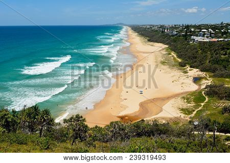 View Over Sunshine Beach South Of Noosa, Qld, With People.