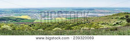 Industrial Park In Nitra, Slovak Republic. Panoramic Photo. Seasonal Natural Landscape.