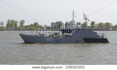 Rostov-on-don,russia - May 05,2018: The Warships That Arrived At The Parade In Honor Of The Century
