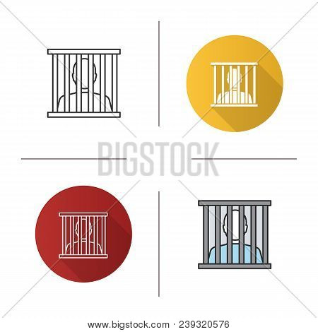 Prisoner Icon. Flat Design, Linear And Color Styles. Jail, Prison. Isolated Vector Illustrations