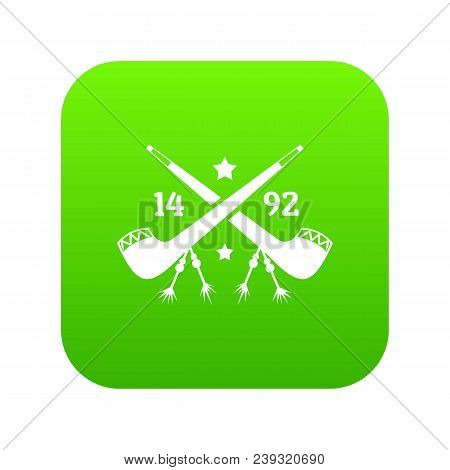 Discover America 1492 Icon Green Vector Isolated On White Background