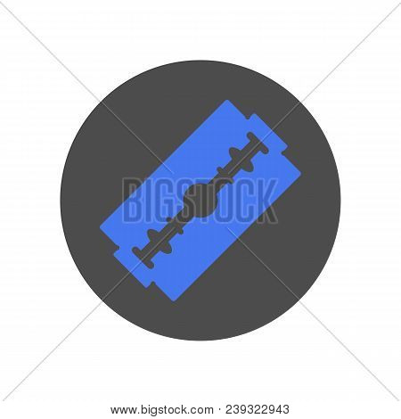 Blue Safety Razor Blade. Vector Flat Icon.