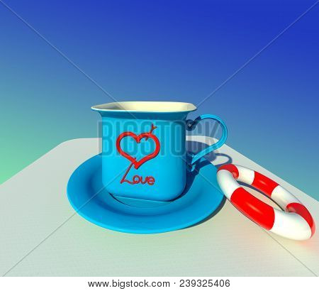 The Cup Of Love Served With Saving Belt 3d Illustration 3. Symbolic Light Blue Textured Mug And Sauc