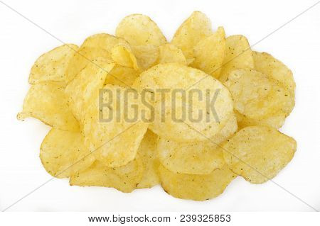 Crispy Potato Chips With Rosemary On White Background