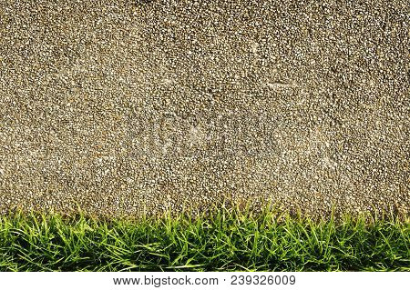 Cement Mixed Small Stone Wall With Grass
