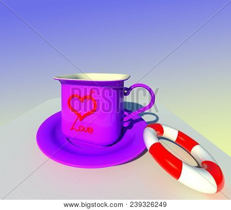 The Cup Of Love Served With Saving Belt 3d Illustration. Symbolic Purple Textured Mug And Saucer, Co