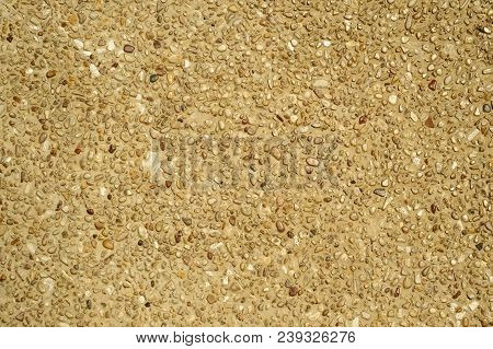 Cement Mixed Small Stone Wall For Background
