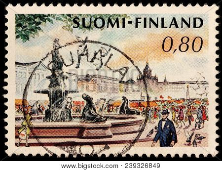 Luga, Russia - January 31, 2018: A Stamp Printed By Finland Shows Beautiful View Of Helsinki Market