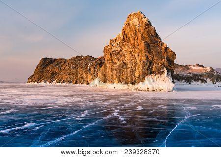 Baikal Frozen Water Lake, Siberia Russia Winter Season Natural Landscape Background
