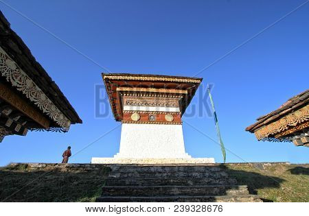 The Top Of 108 Chortens (stupas) , The Memorial In Honour Of The Bhutanese Soldiers At  Dochula Pass