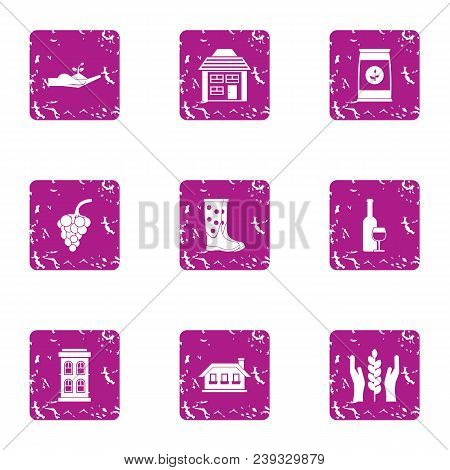 Grow The Culture Icons Set. Grunge Set Of 9 Grow The Culture Vector Icons For Web Isolated On White