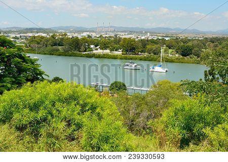 View Over Gladstone, Queensland, Australia, Toward The Powerhouse.