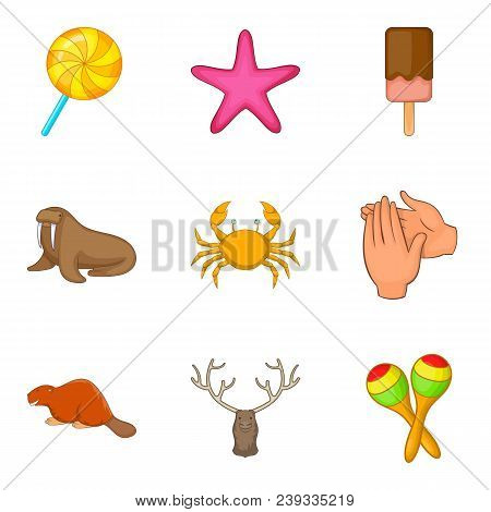 Domesticate Fauna Icons Set. Cartoon Set Of 9 Domesticate Fauna Vector Icons For Web Isolated On Whi