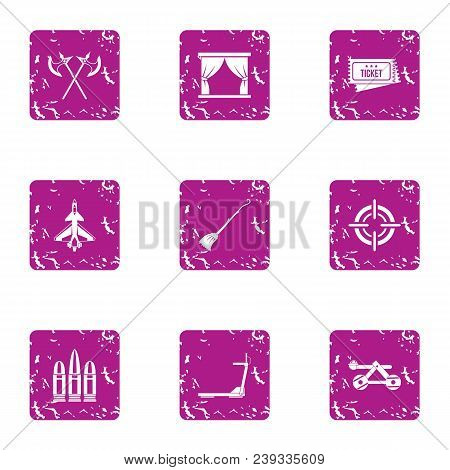 Exhibition Of Medieval Icons Set. Grunge Set Of 9 Exhibition Of Medieval Vector Icons For Web Isolat
