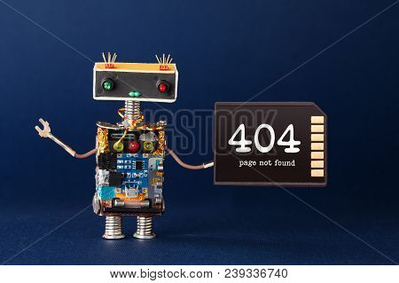 404 Error Page Not Found Concept. Creative Design Robot With Text Message On Memory Card. Blue Backg
