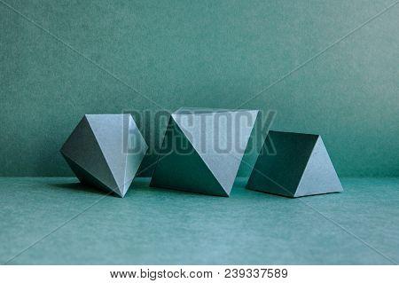 Geometrical Figures Still Life Composition. Three-dimensional Prism Pyramid Tetrahedron Rectangular