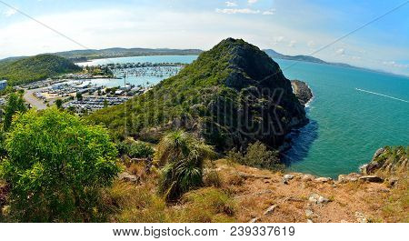 View Over Northern Section Of Double Heads Volcanic Outcrop Protecting Rosslyn Bay Marina In Rosslyn