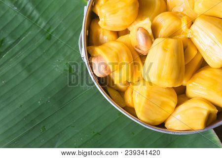 Fresh Sweet Yellow Jackfruit Ripe On Banana Leaf Background