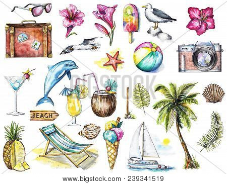 Set With Camera, Seagulls, Yacht, Sunglasses, Cocktail, Ice Cream, Pineapple, Dolphin, Signpost, Sea