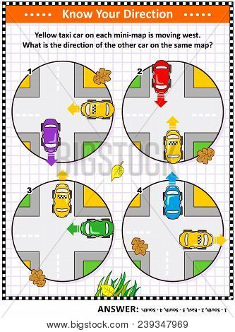 Map Skills Learning And Training Activity Page Or Worksheet: Yellow Taxi Car On Each Mini-map Is Mov