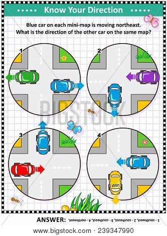 Map Skills Learning And Training Activity Page Or Worksheet: Blue Car On Each Mini-map Is Moving Nor